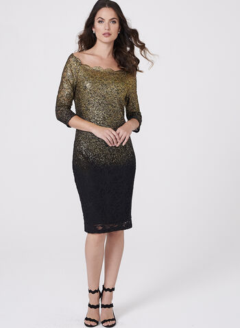 Foil Lace Sheath Dress, , hi-res