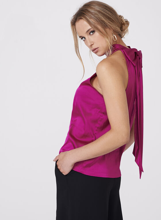 Sleeveless Satin Tie Back Blouse, Red, hi-res