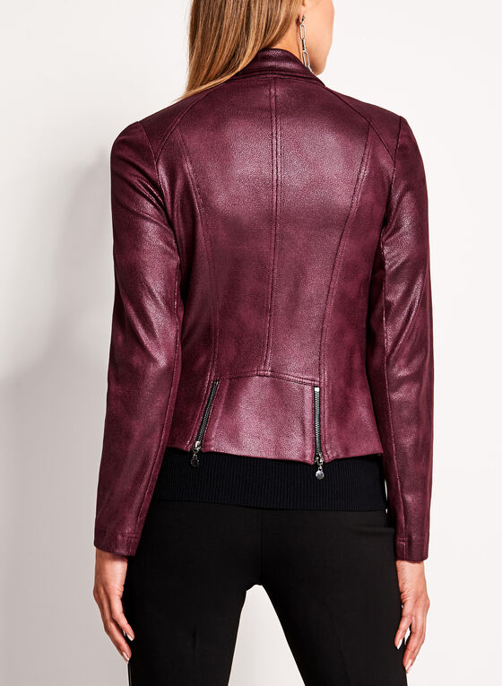 Vex - Faux Leather Zipper Trim Jacket, Red, hi-res