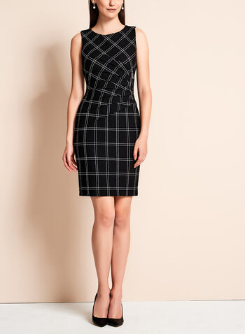 Ivanka Trump - Grid Print Scuba Dress, , hi-res