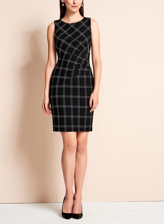 Ivanka Trump - Grid Print Scuba Dress, Black, hi-res