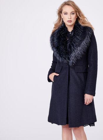 Novelti - Faux Fur Trimmed Wool Blend Coat, , hi-res