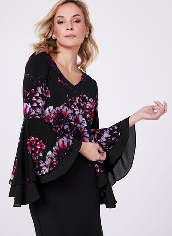 Ruffle Bell Sleeve Top, , hi-res