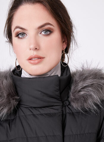 Long Quilted Faux Down Coat, , hi-res