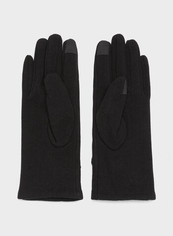 Rabbit Fur Faux Suede Gloves, , hi-res