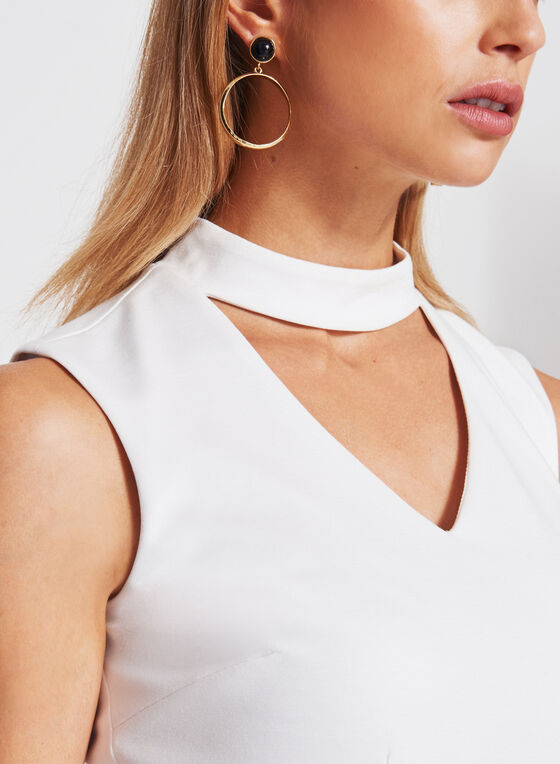 Peplum Detail Choker Ponte Top, Off White, hi-res