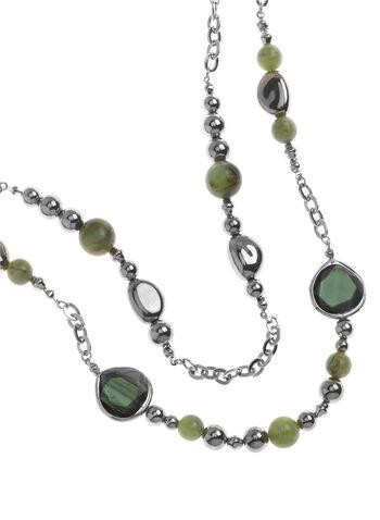 Sautoir double rang pierres facettées et perles, , hi-res