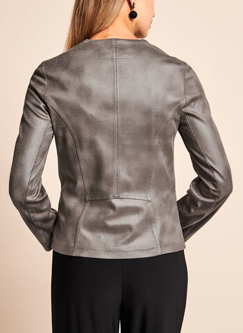 Vex - Open Front Faux Leather Jacket , , hi-res