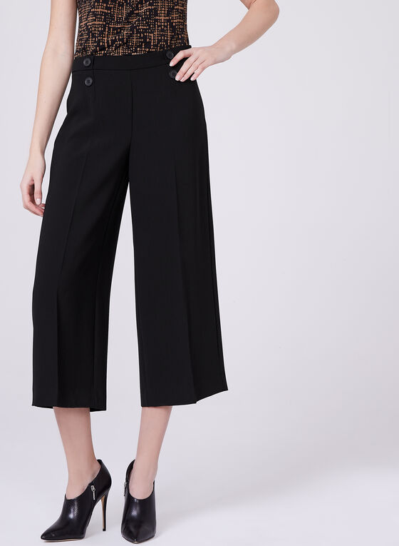 Soho Slimming Fit Culotte Pants, Black, hi-res