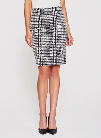 Double Knit Houndstooth Pencil Skirt , , hi-res