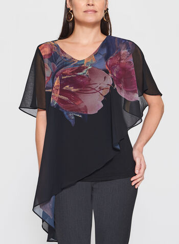 Floral Print Asymmetric Poncho Top, , hi-res