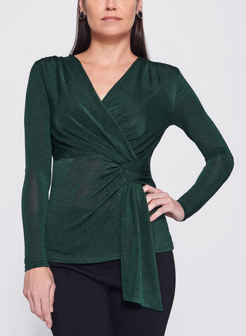 Faux Wrap V-Neck Top, , hi-res