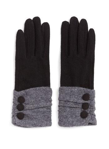 Wool Button Trim Gloves, , hi-res