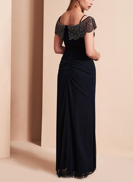 Beaded Neckline Side Ruched Dress, Blue, hi-res