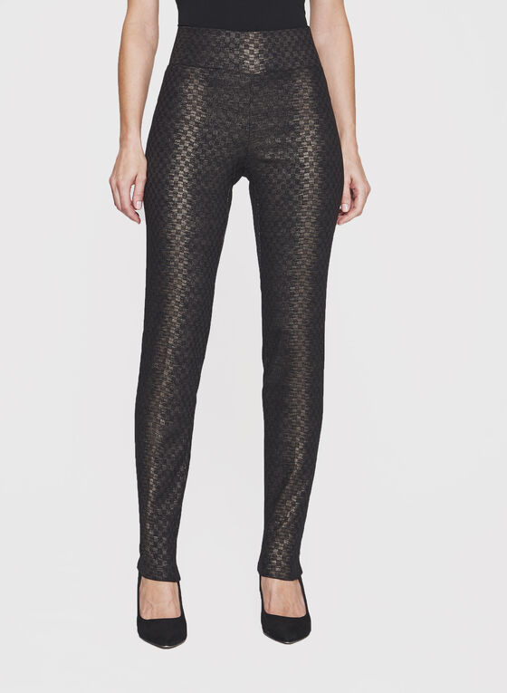 Frank Lyman - Slim Leg Jacquard Pants, Black, hi-res
