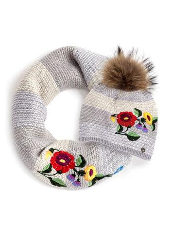 Fur Pom Pom Knit Hat , , hi-res