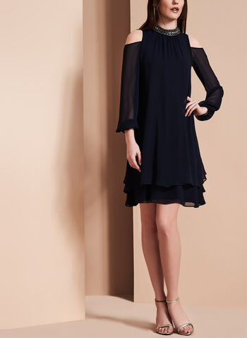 Beaded Neck Chiffon Dress, , hi-res