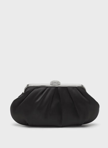 Crystal Closure Satin Clutch, , hi-res