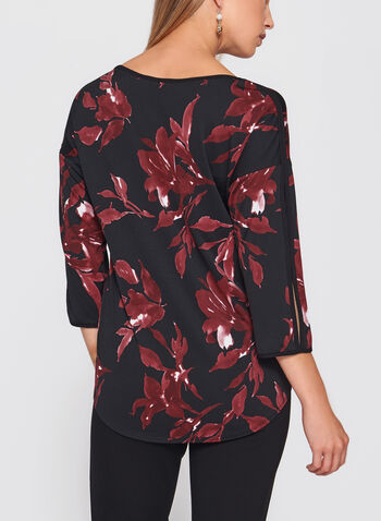 Floral Print Tie Detail Top, , hi-res
