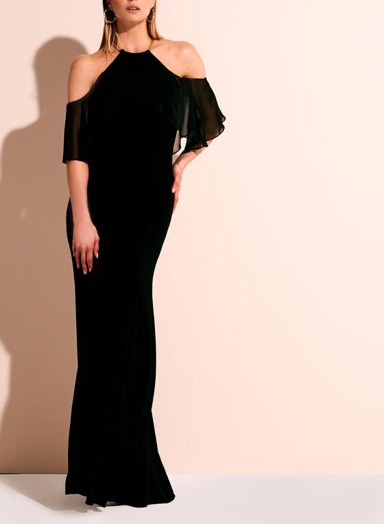 Cold Shoulder Choker Top Gown, Black, hi-res