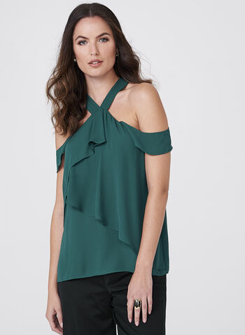 Cold Shoulder Crepe Top, , hi-res