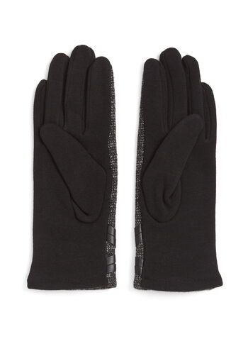 Tweed & Faux Leather Trim Gloves, , hi-res