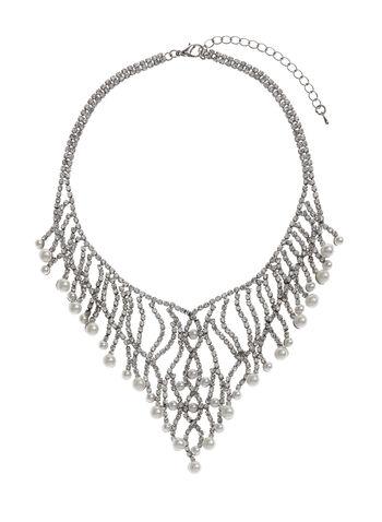 Collier plastron avec perles et strass, , hi-res