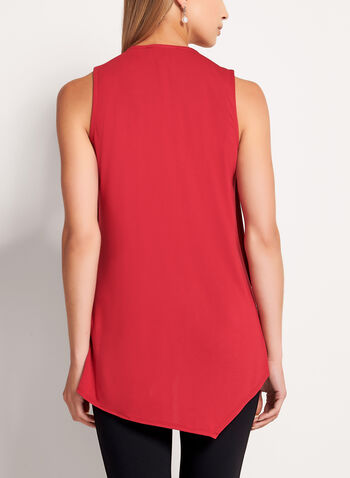 Sleeveless Asymmetric V-Neck Blouse, , hi-res