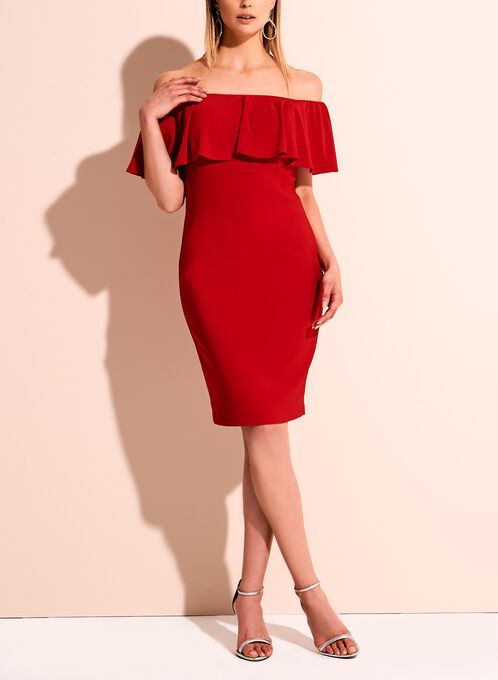 Frank Lyman Off The Shoulder Jersey Dress, Red, hi-res