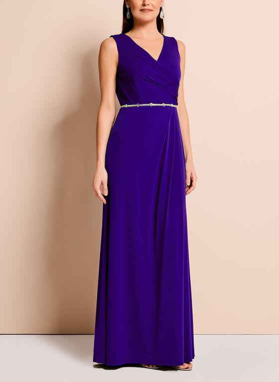 Embellished Waist Cowl Back Gown, Blue, hi-res
