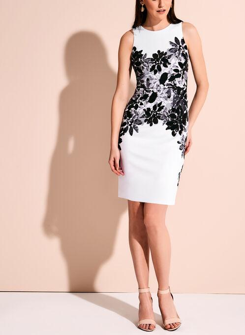 Contrast Floral Print Scuba Sheath Dress, Black, hi-res
