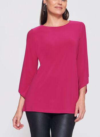 3/4 Asymmetric Bell Sleeve Jersey Top, , hi-res