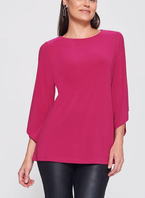 3/4 Asymmetric Bell Sleeve Jersey Top, Pink, hi-res