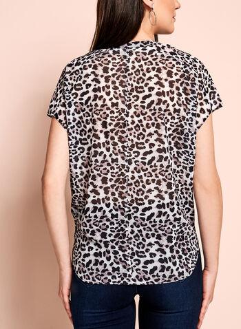 Leopard Print Sheer Blouse, , hi-res
