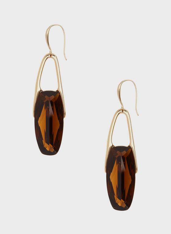 Robert Lee Morris - Geometric Stone Dangle Earrings , Brown, hi-res