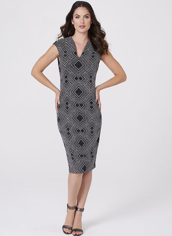 Metallic Geometric Print Dress, , hi-res