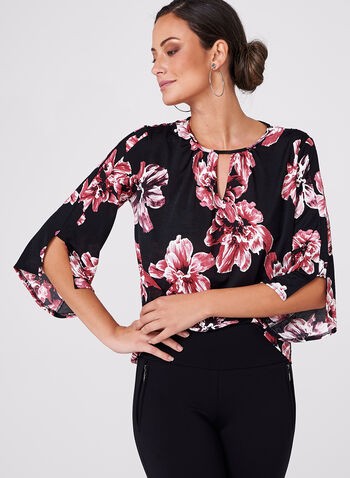Floral Print Bell Sleeve Blouse, , hi-res