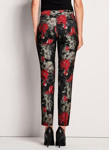 Pantalon 7/8 en jacquard fleuri, , hi-res