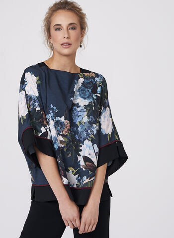 Floral Print Kimono Blouse, , hi-res