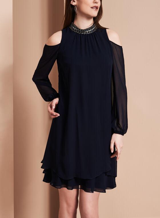 Beaded Neck Chiffon Dress, Blue, hi-res