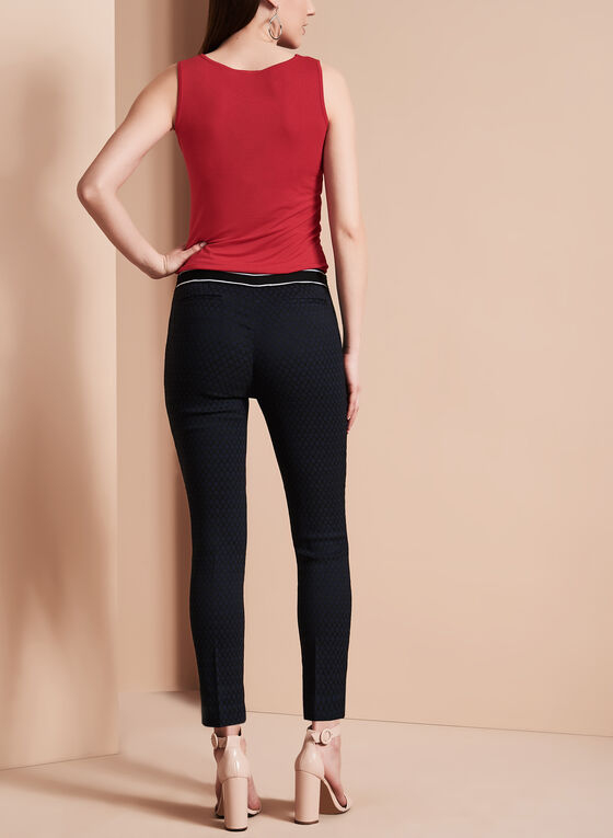Slim Leg Cropped Jacquard Pants, Black, hi-res