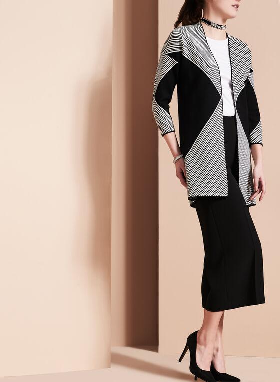 Knit Graphic Print Cardigan , Black, hi-res