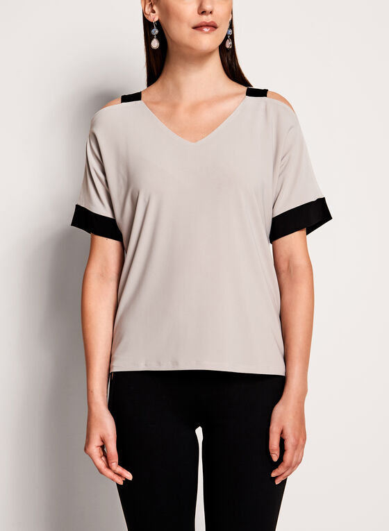 Contrast Cold Shoulder Top , Off White, hi-res
