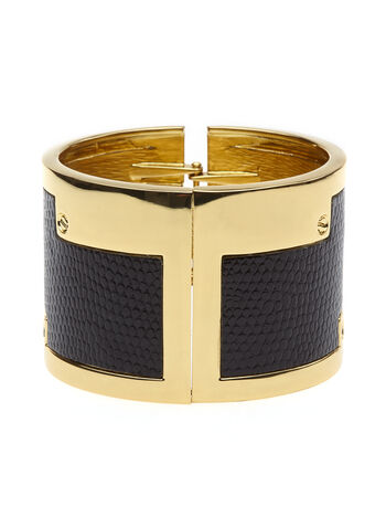 Faux Snakeskin Hinge Bangle, , hi-res