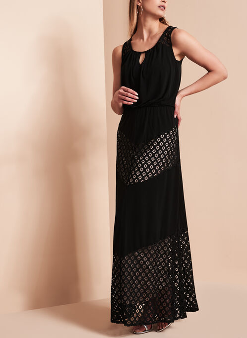 Contrast Lace Overlay Maxi Dress, Black, hi-res