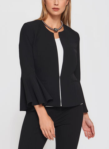 Bell Sleeve Cropped Blazer, , hi-res