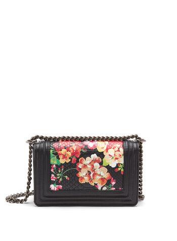 Floral Print Crocodile Crossbody Bag, , hi-res