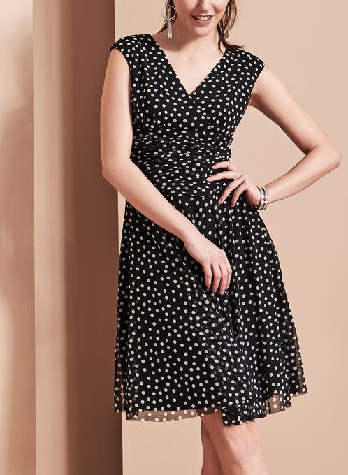 Maggy London Polka Dot Dress, Black, hi-res