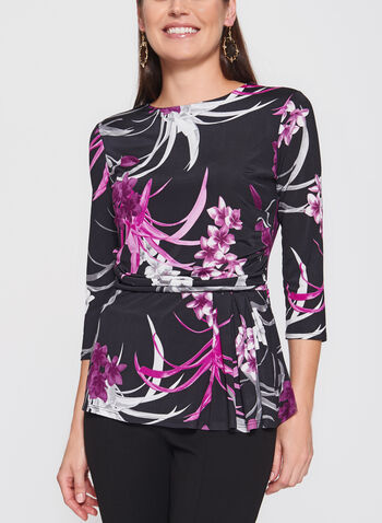 Floral Print Side Tuck Peplum Top , , hi-res
