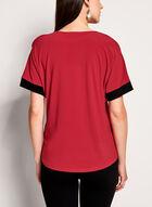 Contrast Cold Shoulder Top , Red, hi-res